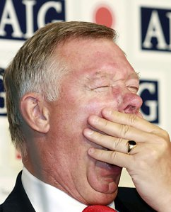 Fergie shows his feelings on the game. Plus forgets to trim those nostrl hairs.
