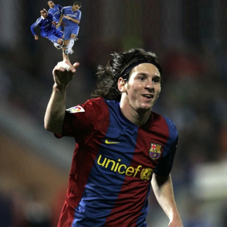 Messi previews the latest skill he will have perfected come the Champions League semi...