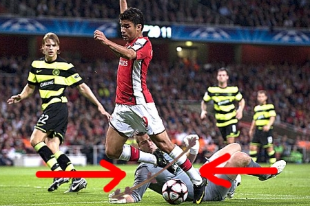 Proof that Eduardo failed to clear Boruc's mini high jump.